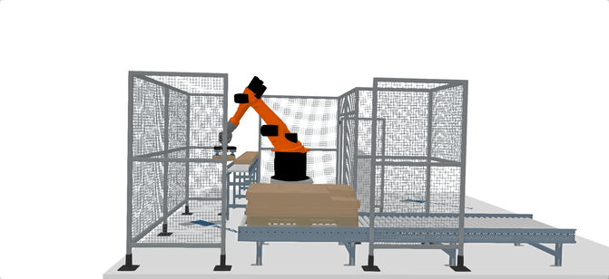 Robotersimulation mit IPhysics, der Simulationssoftware von machineering