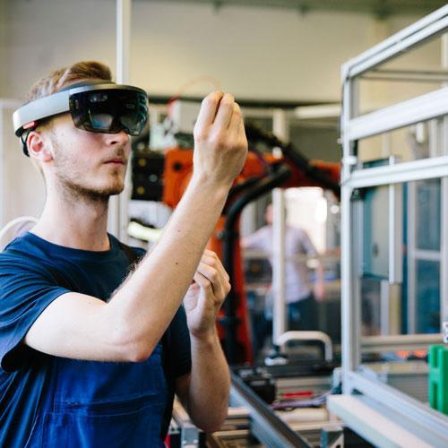 VR-Brillen, virtual reality ... augmented reality ... via iPysics, der 3D Simulationssoftware von machineering